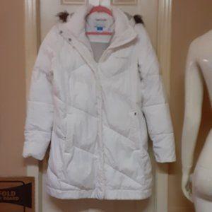 Puffy Coat W/ Detachable Hood & Zip Up Pockets